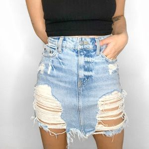 LF Carmar Blue Distressed Mini Denim Skirt